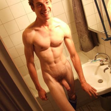 Muscular Guy Shows Cock
